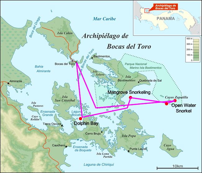 Map of the Islands of the Archipelago of Bocas del Toro in Panama with snorkeling tour itinerary